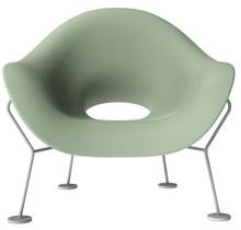 Fotel Pupa zielono-chromowany