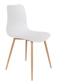 Proste krzesło Leon z białym siedziskiem i nogami w kolorze naturalnym, cenionej marki Zuiver. Materiał: Podstawa: drewno Siedzisko: polipropylen ...