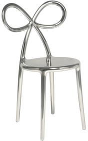 Zestaw 2 krzeseł RIBBON metalowych - srebrny