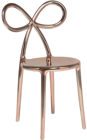 Zestaw 2 krzeseł RIBBON metalowych różowo - złoty