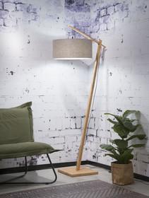 Lampa podłogowa Andes. Podstawa lampy wykonana z bambusa, lniany abażur w kolorze ciemnego lnu LD.Wymiary podstawy: wysokość160 cmWymiary abażura:...