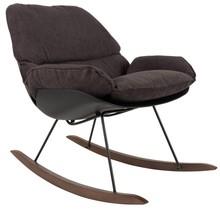 Fotel bujany ROCKY w kolorze czarnym.  Materiał: Tapicerka z tkaniny 90% poliestru, 10% nylonu z wypełnieniem z pianki. Solidne nogi z drewna...