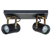 Podwójna lampa sufitowaSPOT LIGHT SCOPE  Kolor: czarny Materiał: stal, mosiądz Wymiary: 24,8x8,5x1,9 cm Źródło światła: 3000 Kelvin, 320 Lumen