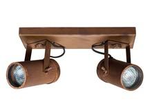 Podwójna lampa sufitowaSPOT LIGHT SCOPE  Kolor: rdzawy Materiał: stal, mosiądz Wymiary: 24,8x8,5x1,9 cm Źródło światła: 3000 Kelvin, 320 Lumen