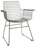 Kolor: wojskowa zieleń Materiał: metal Wymiary: 72x56x86cm Fotel występuje w zestawie z poduszkami na podłokietniki, siedzisko oraz oparcie.