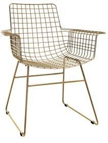 Metalowy fotel druciany w kolorze mosiądzu