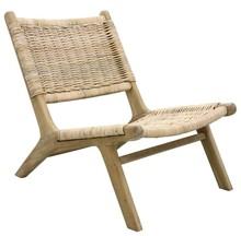 Wiklinowy fotel z drewnianą podstawą, naturalny