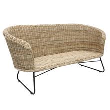 Sofa rattanowa z metalową bazą, naturalna