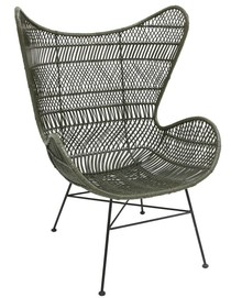 Ręcznie wykonany fotel rattanowy BOHEMIAN - oliwkowy