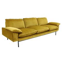 Sofa trzyosobowa aksamitna w kolorze brunatno-żółtym