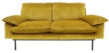 Sofa 2-osobowa RETRO aksamitna - żółta