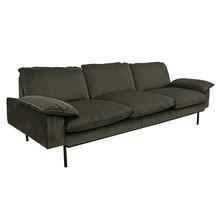 Sofa 3-osobowa aksamitna w kolorze myśliwskim