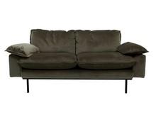 Sofa Retro 2-osobowa aksamitna w kolorze myśliwskim