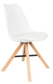 Krzesło marki Koosjer  Materiał: Siedzisko wykonano z polipropylenu z poduszką obitą ekoskórą i wypełnieniem z pianki. Drewniane nogi wykonane...