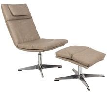 Fotel z podnóżkiem marki Koosjer.  Materiał: Obicie wykonane z ekoskóry, wypełnienie z pianki, sklejka. Podstawa ze stopu aluminium z chromowanym...