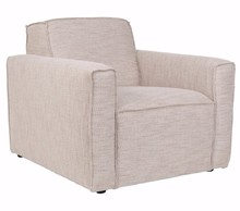 Fotel BORmarki Zuiver w kolorze beżowym (latte).  Materiały: Poszycie: tkanina (85,5% polyester, 14,5% polypropylene) ścieralność: 25 000, kolor...