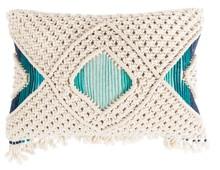 Poduszka EVI w kolorze kości słoniowej i morskim, wykonana ręcznie.  Materiał: 90% bawełna, 10% poliester  Wymiary: 50 x 30 cm kość...