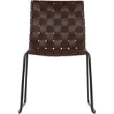 Krzesło Icon skórzane, ciemny brąz  Krzesło Icon wykonane jest ze skóry naturalnej pozyskiwanej z recyklingu. Skóra utkana we wzór szachownicy...