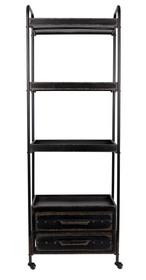 Regał w kolorze czarnym marki Koosjer Materiał: żelazo Wymiary: 60x37,5x175 cm Maksymalne obciążenie: 15 kg