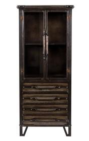 Witryna w kolorze brązowym, wykonana z żelaza i szkła hartowanego. Wymiary: 54x40x126,5 cm Maksymalne obciążenie: 20 kg