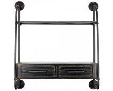 Półka wisząca wykonana z żelaza w kolorze czarnym. Wymiary: 81x25x85,5 cm Maksymalne obciążenie: 5 kg