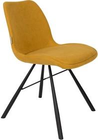 Krzesło BERNT musztardowe  Materiał: Podstawa wykonana jest ze stali Tapicerka to tkanina (90% poliester, 10% nylon)  Wymiary: 48x56,5x79,5 cm...