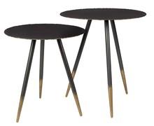 Stoliki Stalwart sprzedawane w zestawie po 2 sztuki.  Materiał: stal, żelazo Wymiary mniejszego stolika: 40x44 cm (Ø x H) większego stolika: 45x50...
