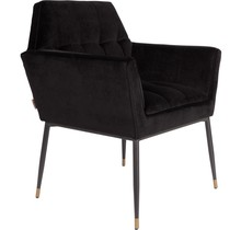 Fotel Kate  Materiał: Obicie wykonane z aksamitnej tkaniny. Rama z drewna sosnowego. Nogi czarne, malowane proszkowo żelazne z mosiężnymi stopkami i...