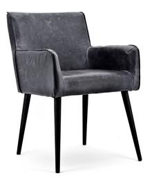 Fotel Stacy tapicerowany czarna naturalna skóra vintage