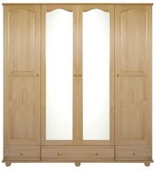 SZAFA SOSNOWA Z LUSTRAMI SF-01L  Szafa w całości wykonana z drewna sosnowego. W środkowych drzwiach umieszczone są duże lustra. Połączenie półek z...
