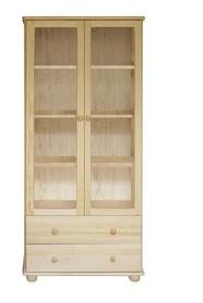 WITRYNA DREWNIANA SOSNOWA Z ELEMENTAMI SZKŁA WIT-31  Witryna w całości wykonana z drewna sosnowego. W górnych drzwiczkach umieszczone są szkła....