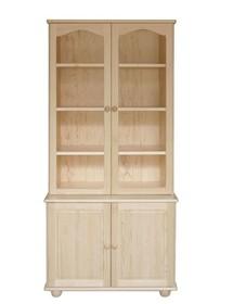 WITRYNA DREWNIANA SOSNOWA Z ELEMENTAMI SZKŁA WIT-37  Witryna w całości wykonana z drewna sosnowego. W górnych drzwiach umieszczone są szkła. Łuki i...