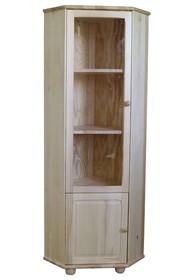WITRYNA DREWNIANA SOSNOWA Z ELEMENTAMI SZKŁA WIT-45  Witryna narożna w całości wykonana z drewna sosnowego. W górnych drzwiach umieszczone są szkła....