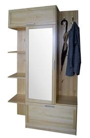 GARDEROBA SOSNOWA Z LUSTREM GR-81  Garderoba w całości wykonana z drewna sosnowego. W górnych drzwiach umieszczone jest lustro. Połączenie półek z...
