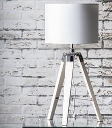 Lampa stołowa 1L/3F dąb bielony biały abażur