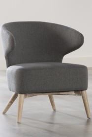 Fotel F10 tapicerowany stalowo-szary