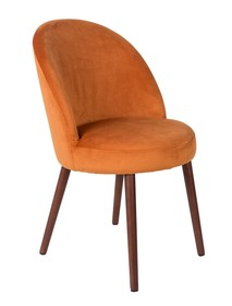 Kolor: pomarańczowy  Materiał: drewno, 100% poliester aksamit  Wymiary: 51x59x85,5 Wysokość siedzenia: 50 Głębokość siedzenia: 51  Waga: 15,5kg