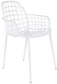 Kolor: biały Materiał: aluminium  Wymiary: 59,5x59,5x82,5 cm (WxDxH) Wysokość podłokietników: 63,5 cm Wysokość siedzenia: 47,5 cm Głębokość...