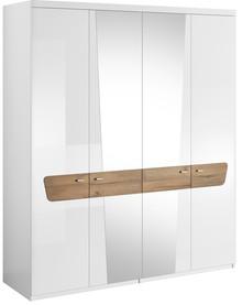 Montreal 20 - szafa 4 drzw.  Ciekawe połączenie białej membrany na wysoki połysk z ciepłym wybarwieniem dąb grandson sprawi, że wnętrze sypialni...
