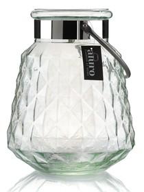 Lampion PAURA wykonany z grubego opalizującego szkła imitującego kryształ, w dwóch kolorach do wyboru (crystal rose i crystal green). Metalowy...