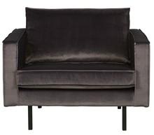 Fotel RODEO aksamitny antracytowy  Wymiary:  - Wysokość: 85 cm - Szerokość: 105 cm - Głębokość: 86 cm  Materiał:  - aksamit