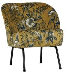 Fotel VOGUE - żółty z motywem kwiatowym