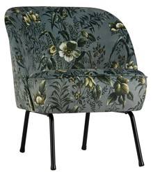 Fotel Vogue szary z motywem kwiatowym  Wymiary:  - Wysokość: 69 cm - Szerokość: 57 cm - Głębokość: 70 cm  Kolor:  - szary  Materiał:  -...