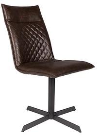 Krzesło IVAR ciemnobrązowe  Materiał: tkanina: PU-skóra z dekoracyjnymi detalami, nogi: czarna, lakierowana, żelazna rama z plastikowymi...