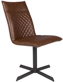 Krzesło IVAR brązowe  Materiał: tkanina: PU-skóra z dekoracyjnymi detalami, nogi: czarna, lakierowana, żelazna rama z plastikowymi nakładkami na nogi...