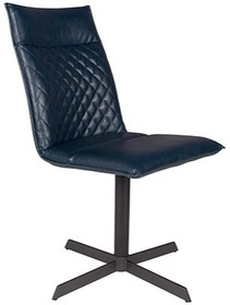 Krzesło IVAR niebieskie  Materiał: tkanina: PU-skóra z dekoracyjnymi detalami, nogi: czarna, lakierowana, żelazna rama z plastikowymi nakładkami...