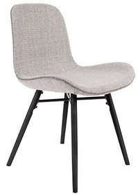 Krzesło LESTER jasnoszary  Materiał: Tkanina: 100% poliester z przeszyciami zygzakowymi Nogi: z drewna bukowego, lakierowane na czarno  Wymiary:...
