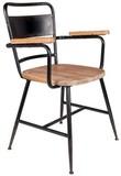 Krzesło GENE  Materiał: Siedzisko i podłokietnikiz litego drewna jodowego, lakierowane na kolor naturalny Czarna, lakierowana proszkowo stalowa...