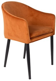 Fotel CATELYN pomarańczowy  Cechy: Poduszka siedziska ze zdejmowaną poszewką. Czarne stalowe nogi malowane proszkowo.  Materiał: 100% tkaniny...