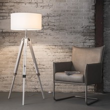 Lampa podłogowa 1L/3F,tripod drewno lite bielone